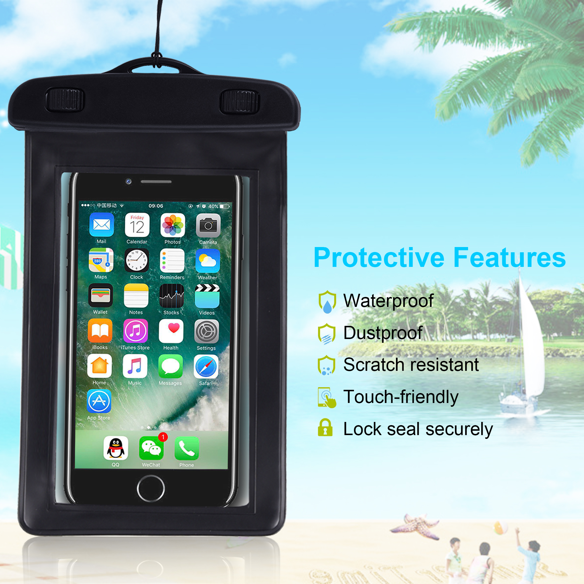 Factory Custom 5.5 inch Waterproof Cell Phone Case Best Water Proof Pouch Bag for iPhone 7