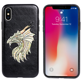 Tesky Custom Dragon Protective Engrave Embroidery PU Leather Mobile Phone Back Phone Cover for IPhone X/ XS