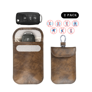 Factory Wholesale Custom Logo Leather Rfid Block Pouch Car Key Protective Case Signal Blocking Car Key Pouch