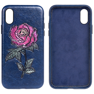 Shock Absorption Protective Embroidery Rose PU leather Cell Phone Back Cover Back Case for iPhone X/XS