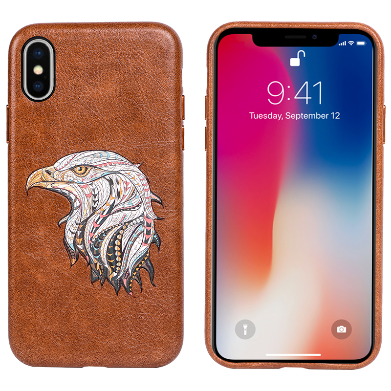 Tesky Factory Wholesale Eagle Shock Proof Engrave PU Leather Phone Back Cover for iPhone X/ XS