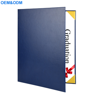 Factory Customized Wholesale A-4 Leather Certificate Folder / Graduation Certificate Holder / Black Leather A4 Certificate