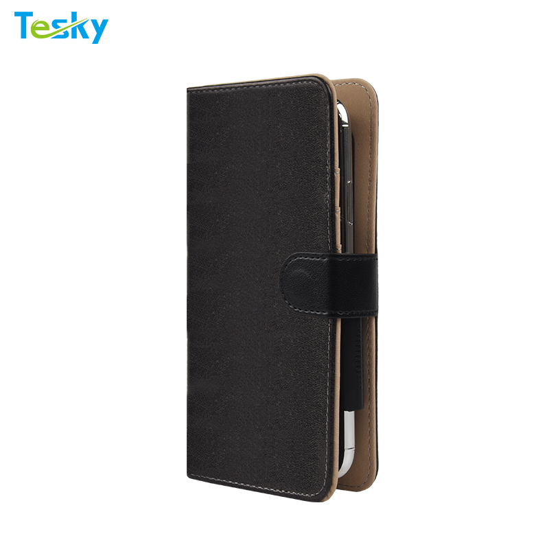 Factory Custom Universal Leather Mobile Phone Wallet Case for iPhone / Samsung / Huawei / OnePlus
