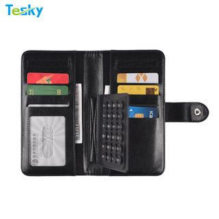 Factory OEM Wholesale Universal Mobile Phone Flip Leather Wallet Case for Smart Phone with Big Volume Card Holder
