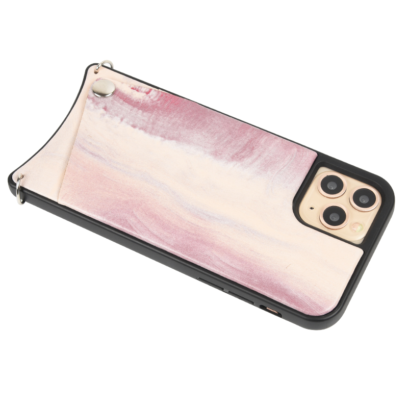 Custom Design Marble PU Leather Crossbody Necklace Mobile Cell Phone Case For Apple Iphone 11 Pro